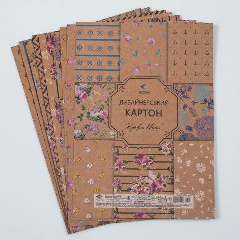 Дизайнерський картон Крафт квіти - 9 аркушів