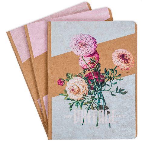 """Блокнот крафтовый """"Винтаж"""" цветы, 112 листов, фото"""